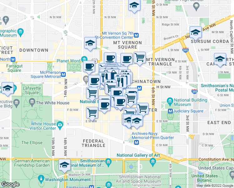 map of restaurants, bars, coffee shops, grocery stores, and more near 950 H Street Northeast in Washington