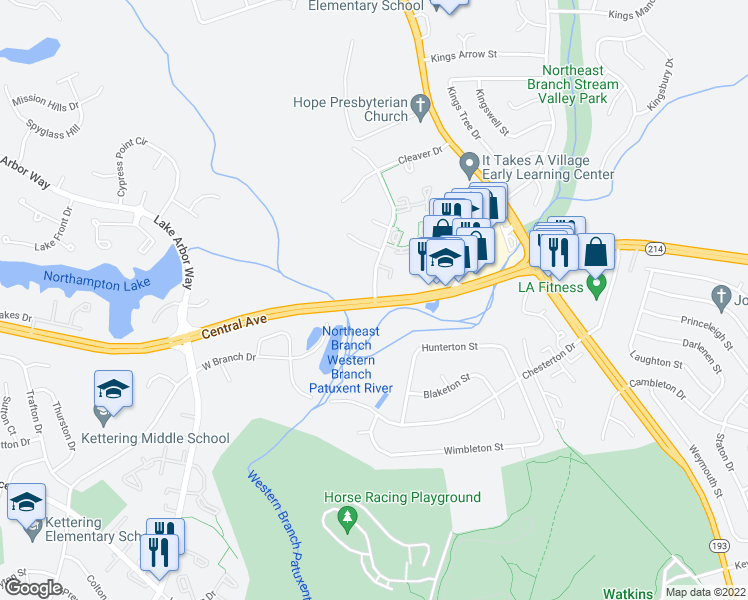 map of restaurants, bars, coffee shops, grocery stores, and more near 700 Saint Michaels Drive in Bowie