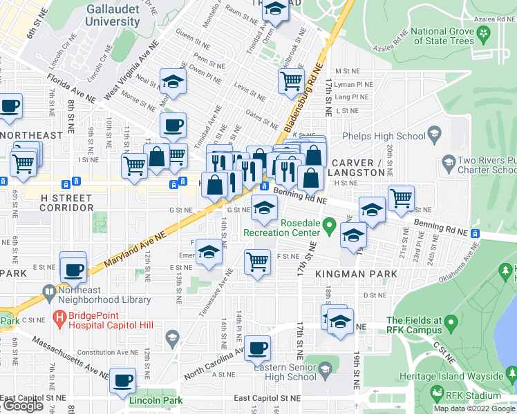 map of restaurants, bars, coffee shops, grocery stores, and more near 709 15th St NE in Washington