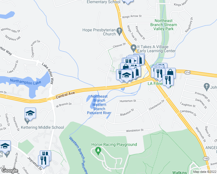 map of restaurants, bars, coffee shops, grocery stores, and more near 711 Saint Michaels Drive in Bowie
