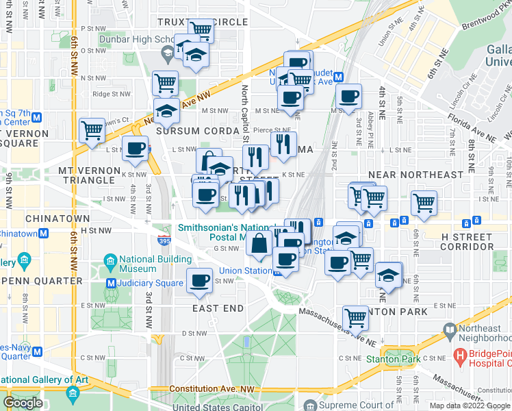 map of restaurants, bars, coffee shops, grocery stores, and more near 800 North Capitol Street Northwest in Washington