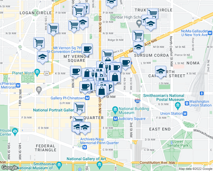 map of restaurants, bars, coffee shops, grocery stores, and more near Massachusetts Avenue Northwest & 5th Street Northwest in Washington