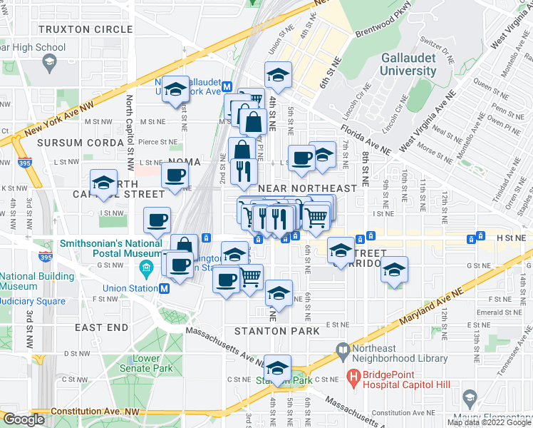 map of restaurants, bars, coffee shops, grocery stores, and more near 325 I St NE in Washington