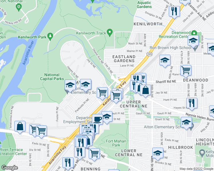 map of restaurants, bars, coffee shops, grocery stores, and more near 3542-3748 Jay Street Northeast in Washington
