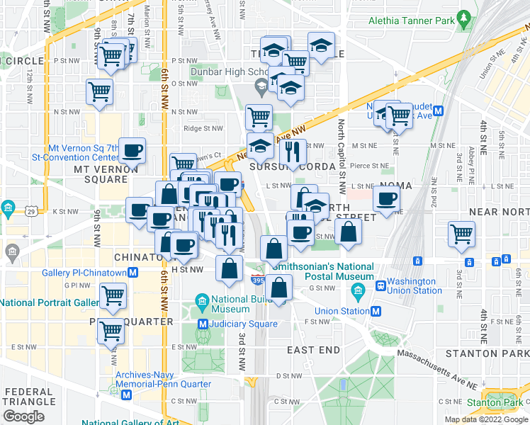 map of restaurants, bars, coffee shops, grocery stores, and more near 300-398 K Street Northwest in Washington