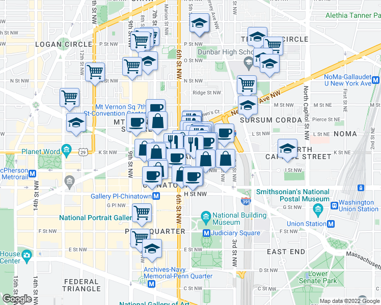 map of restaurants, bars, coffee shops, grocery stores, and more near K Street Northwest & 5th Street Northwest in Washington