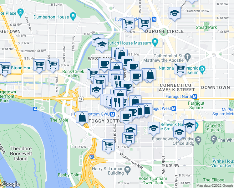 map of restaurants, bars, coffee shops, grocery stores, and more near Washington Cir NW in Washington