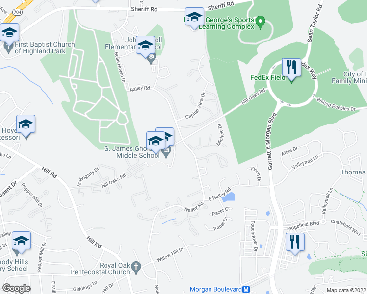 map of restaurants, bars, coffee shops, grocery stores, and more near Hill Oaks Rd in Hyattsville