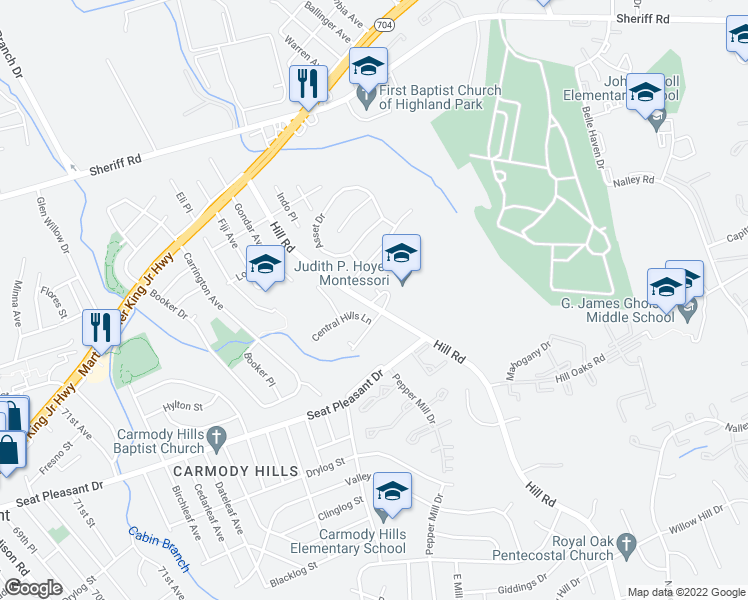 map of restaurants, bars, coffee shops, grocery stores, and more near 1011 Consideration Ln in Hyattsville