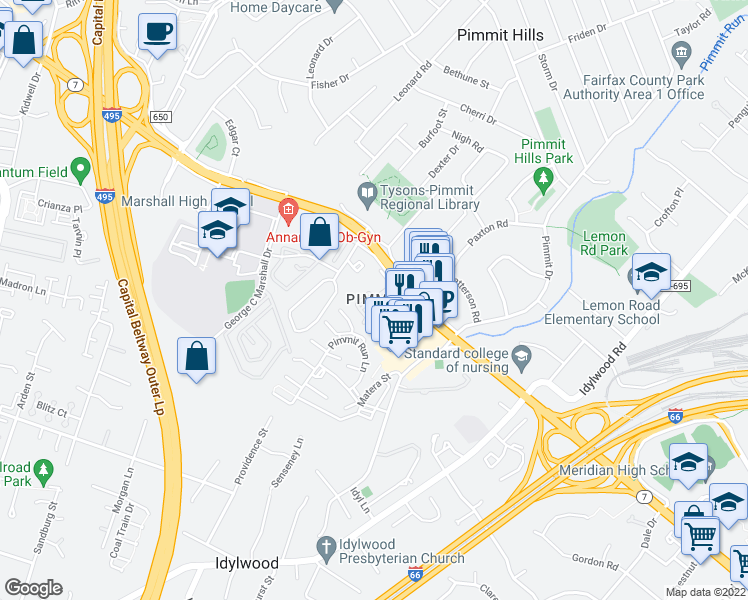 map of restaurants, bars, coffee shops, grocery stores, and more near 2154 Evans Ct in Falls Church