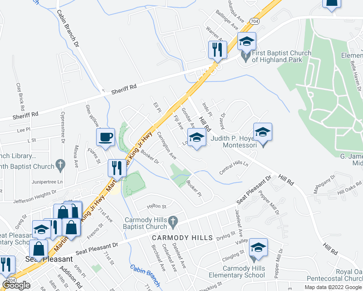 map of restaurants, bars, coffee shops, grocery stores, and more near 6501 Lowland Drive in Hyattsville