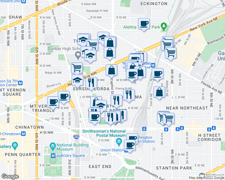 map of restaurants, bars, coffee shops, grocery stores, and more near 6