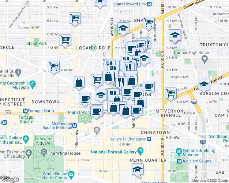 map of restaurants, bars, coffee shops, grocery stores, and more near 1111 11th Street Northwest in Washington