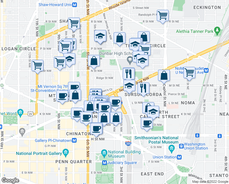 map of restaurants, bars, coffee shops, grocery stores, and more near New York Avenue Northwest & 4th Street Northwest in Washington