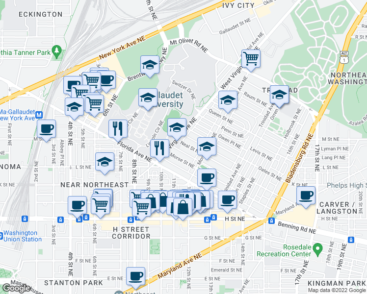 map of restaurants, bars, coffee shops, grocery stores, and more near 112