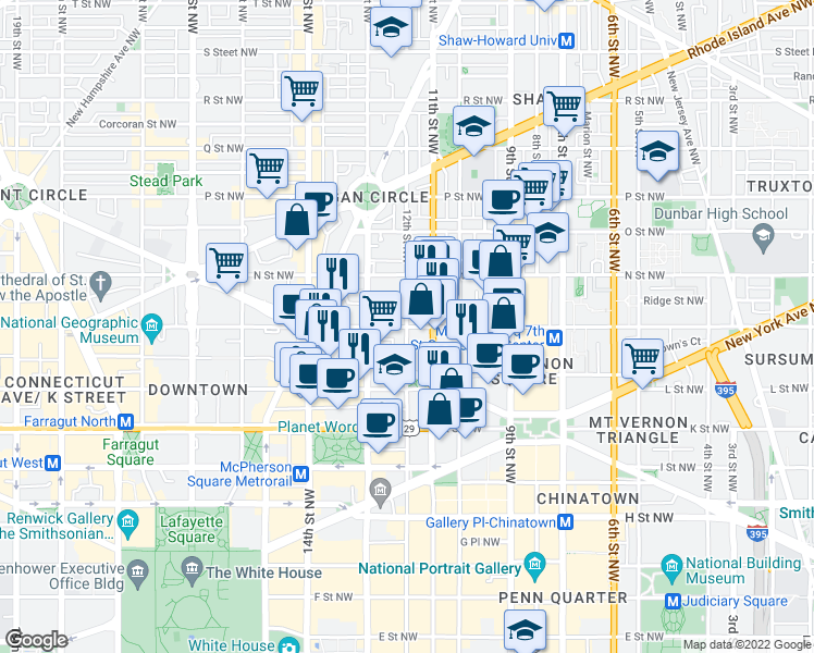map of restaurants, bars, coffee shops, grocery stores, and more near M Street Northwest & 12th Street Northwest in Washington