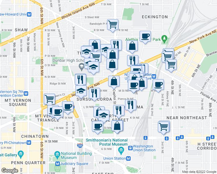 map of restaurants, bars, coffee shops, grocery stores, and more near 2-14 M St NW in Washington