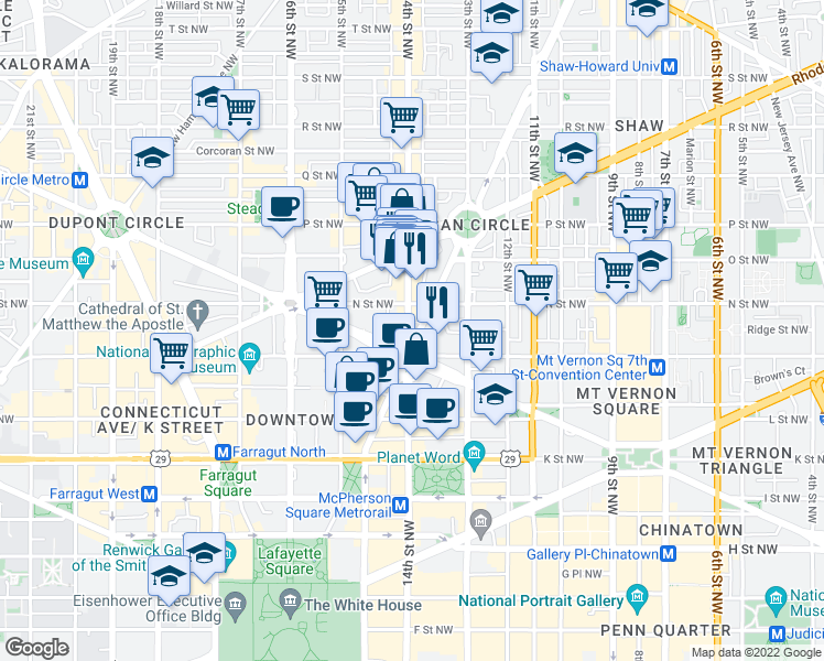 map of restaurants, bars, coffee shops, grocery stores, and more near 1235 14th Street Northwest in Washington