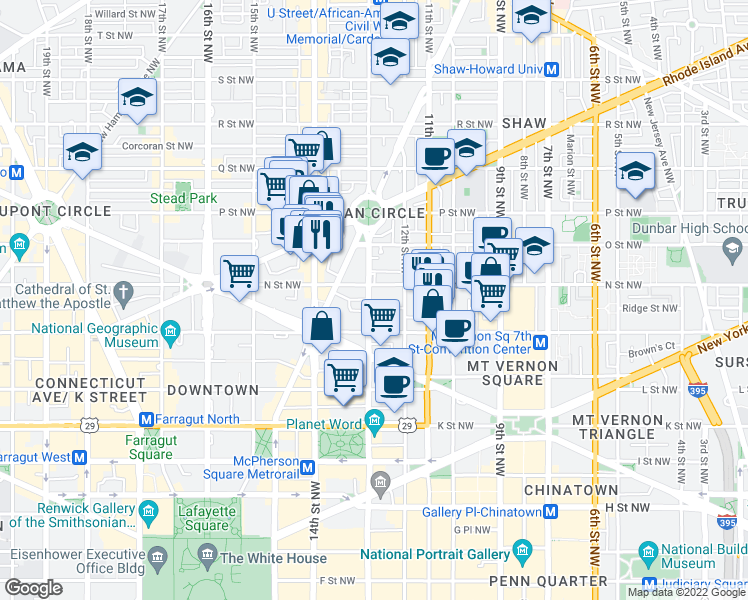 map of restaurants, bars, coffee shops, grocery stores, and more near in Washington