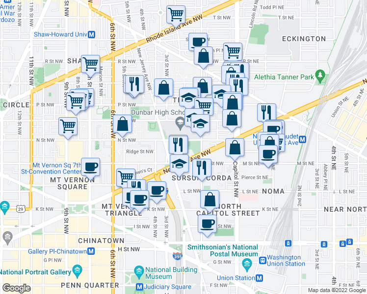 map of restaurants, bars, coffee shops, grocery stores, and more near 2nd St NW in Washington