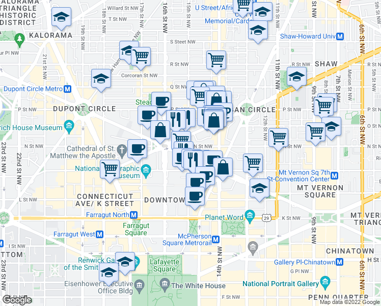 map of restaurants, bars, coffee shops, grocery stores, and more near 1225 15th Street Northwest in Washington