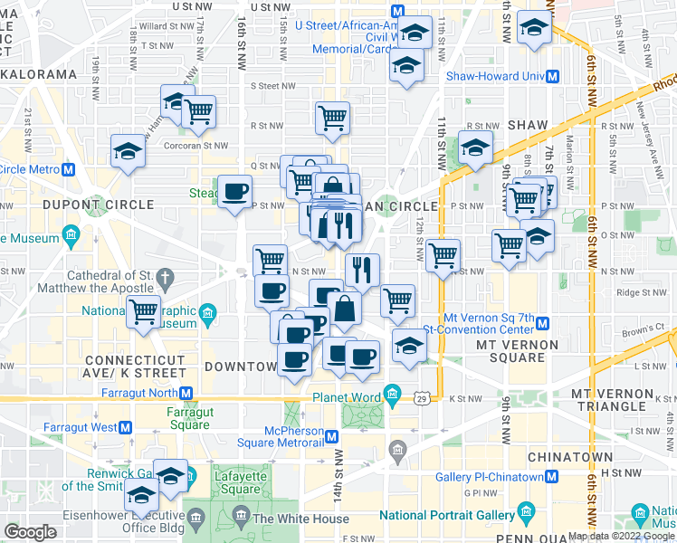 map of restaurants, bars, coffee shops, grocery stores, and more near 14th Street Northwest & N Street Northwest in Washington
