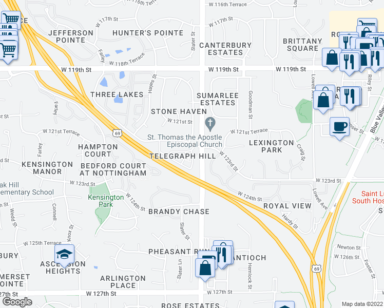 map of restaurants, bars, coffee shops, grocery stores, and more near 8701 W 121st Terrace in Overland Park