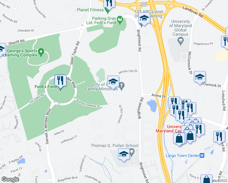 map of restaurants, bars, coffee shops, grocery stores, and more near 8550-8698 Jericho City Dr in Hyattsville