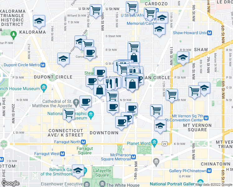 map of restaurants, bars, coffee shops, grocery stores, and more near 1461 Rhode Island Avenue Northwest in Washington