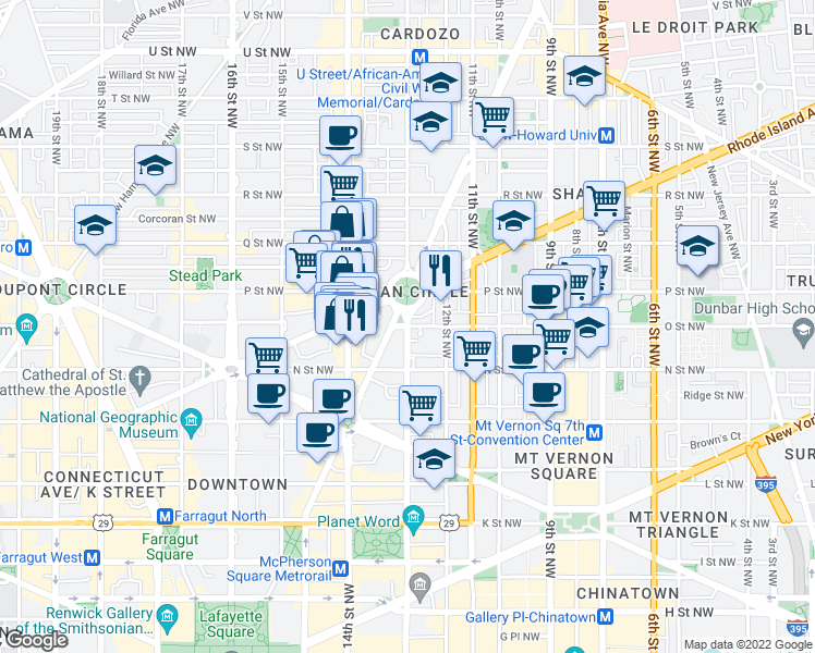 map of restaurants, bars, coffee shops, grocery stores, and more near 13th Street Northwest & O Street Northwest in Washington