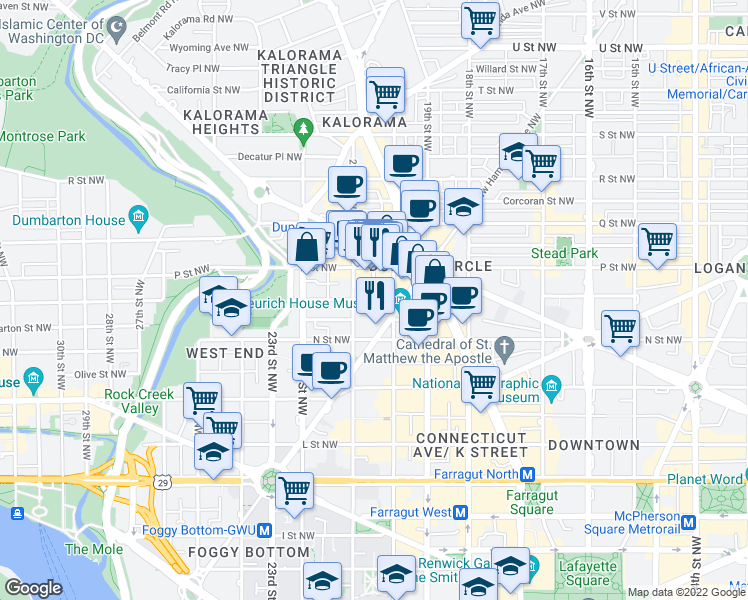 map of restaurants, bars, coffee shops, grocery stores, and more near O Street Northwest & Hopkins Street Northwest in Washington