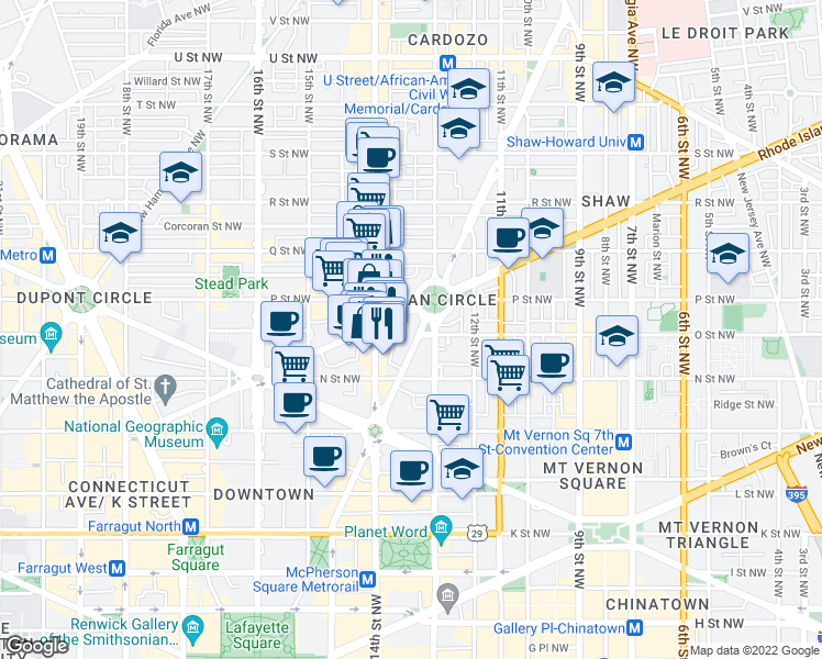 map of restaurants, bars, coffee shops, grocery stores, and more near 1336 Vermont Avenue Northwest in Washington