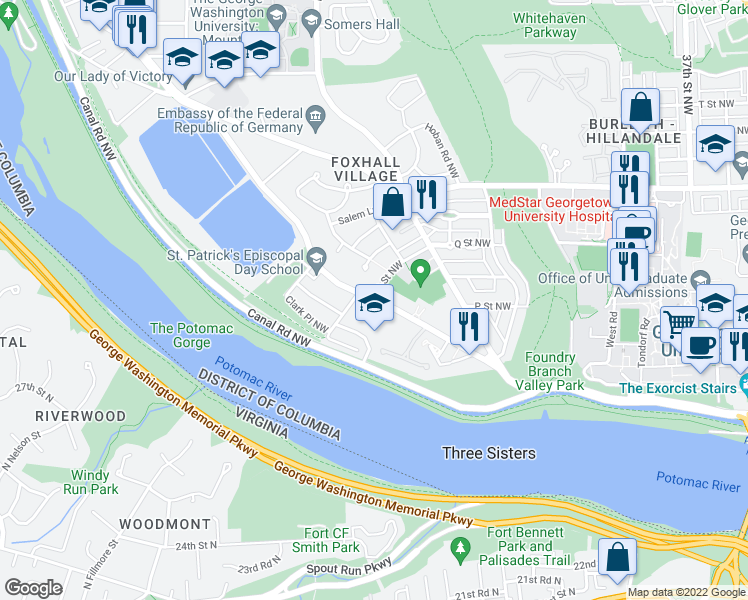 map of restaurants, bars, coffee shops, grocery stores, and more near MacArthur Blvd NW & Q St NW in Washington