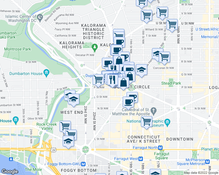 map of restaurants, bars, coffee shops, grocery stores, and more near P St NW & 21st St NW in Washington