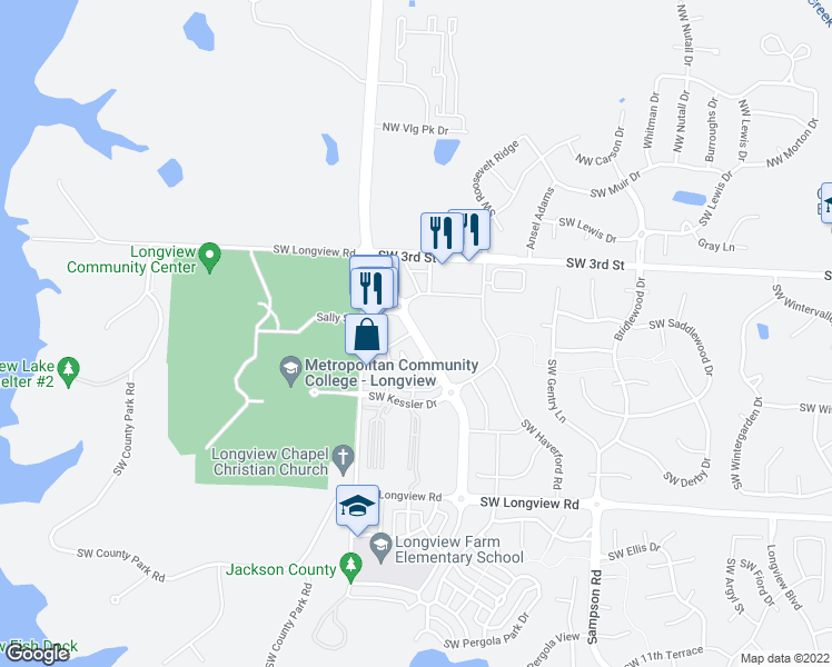 map of restaurants, bars, coffee shops, grocery stores, and more near 160 View High Drive in Lee's Summit
