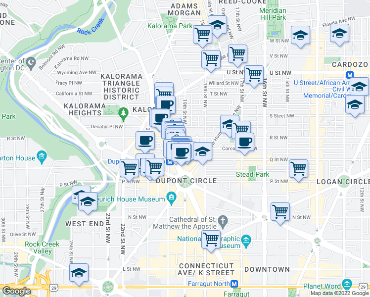 map of restaurants, bars, coffee shops, grocery stores, and