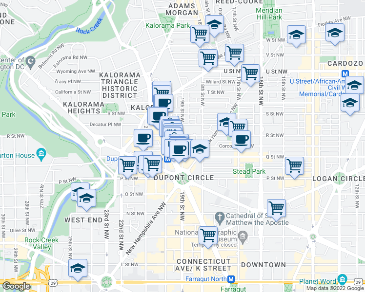 map of restaurants, bars, coffee shops, grocery stores, and more near 19th Street Northwest & Corcoran Street Northwest in Washington