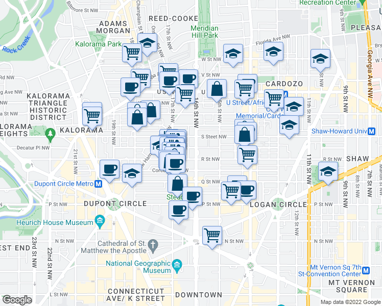 map of restaurants, bars, coffee shops, grocery stores, and more near 1708 16th Street Northwest in Washington