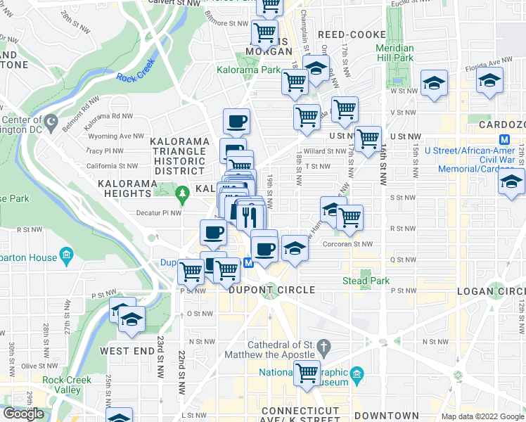 map of restaurants, bars, coffee shops, grocery stores, and more near 1717 20th Street Northwest in Washington