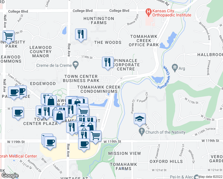 map of restaurants, bars, coffee shops, grocery stores, and more near 11608 Tomahawk Creek Parkway in Leawood