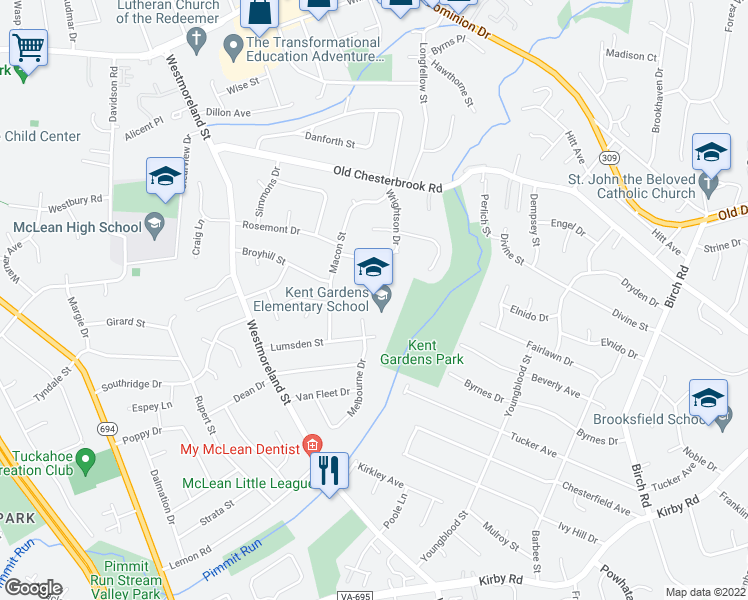 map of restaurants, bars, coffee shops, grocery stores, and more near 1633 Wrightson Dr in McLean