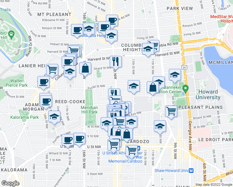 map of restaurants, bars, coffee shops, grocery stores, and more near 14th Street Northwest & Clifton Street Northwest in Washington