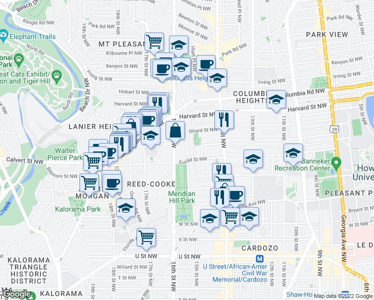 map of restaurants, bars, coffee shops, grocery stores, and more near 15th Street Northwest in Washington
