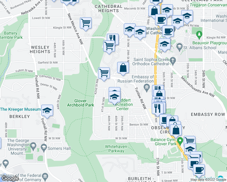 map of restaurants, bars, coffee shops, grocery stores, and more near 3904 Edmunds St NW in Washington