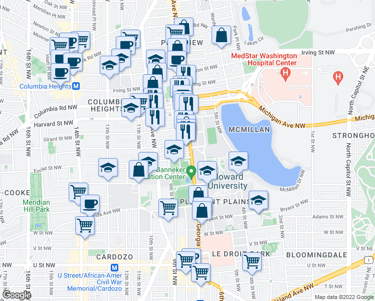 map of restaurants, bars, coffee shops, grocery stores, and more near 2612 Georgia Ave NW in Washington