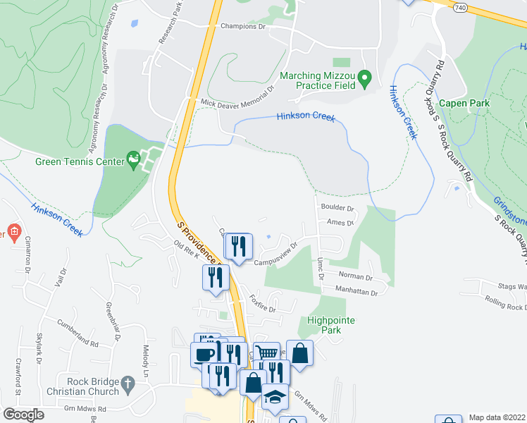 map of restaurants, bars, coffee shops, grocery stores, and more near Bennett Springs Drive in Columbia