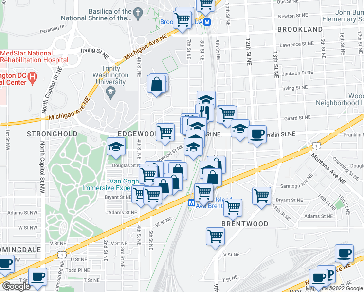 map of restaurants, bars, coffee shops, grocery stores, and more near 636 Edgewood Street Northeast in Washington