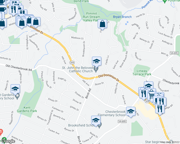 map of restaurants, bars, coffee shops, grocery stores, and more near 6441 Linway Terrace in McLean