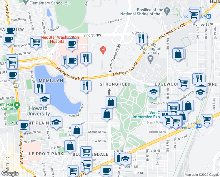 map of restaurants, bars, coffee shops, grocery stores, and more near North Capitol St NE & Franklin St NE in Washington