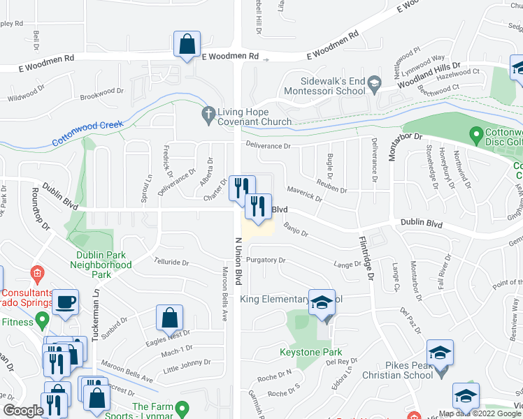 map of restaurants, bars, coffee shops, grocery stores, and more near 2864 Dublin Boulevard in Colorado Springs